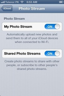 Photo Stream Settings