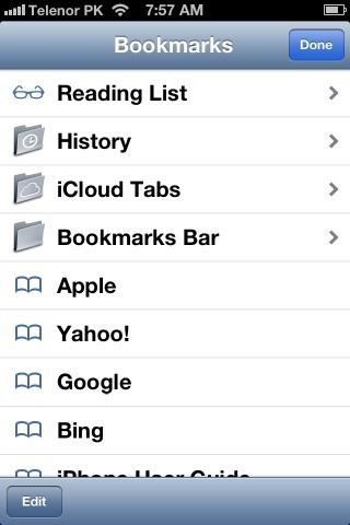 Safari Bookmarks iPhone iOS 6