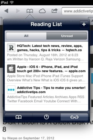 Safari Offline Reading List iPad iOS 6