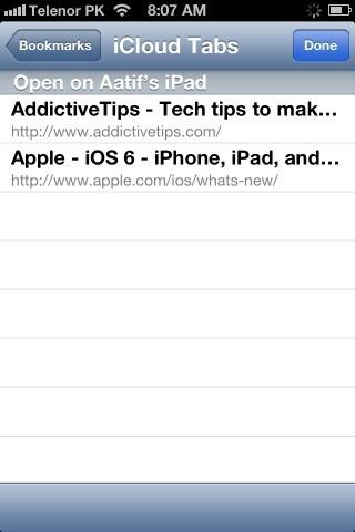 Safari iCloud Tabs iPhone iOS 6