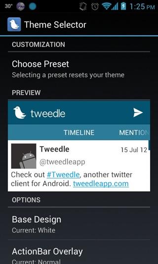 Tweedle - Settings