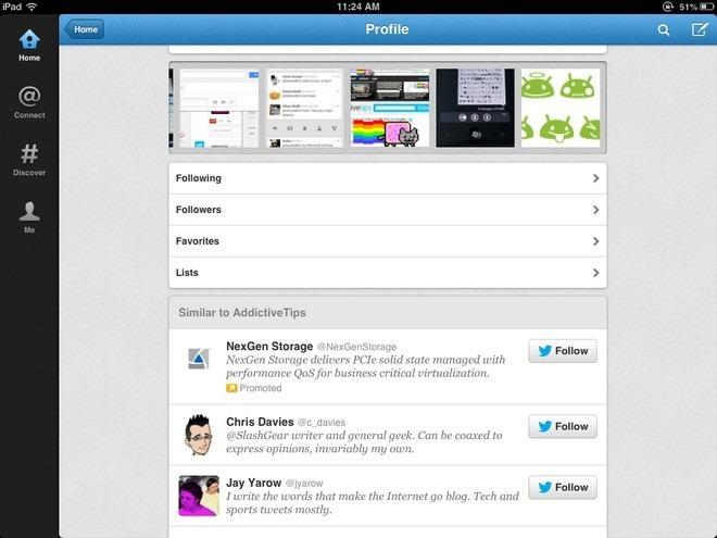 Twitter iPad Photo Stream
