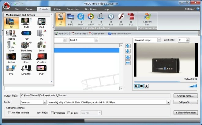 VSDC Free Video Converter_Formats