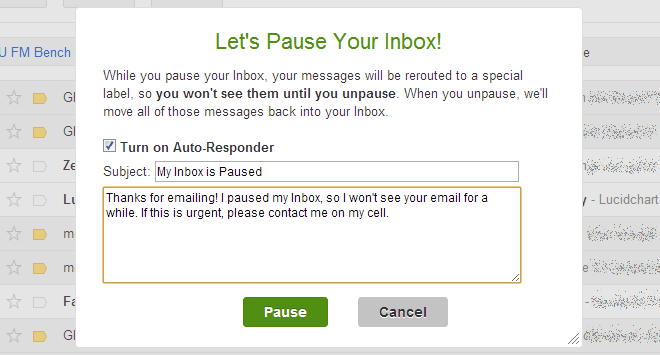 inbox pause message