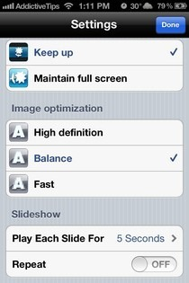 AirFoto iOS Settings