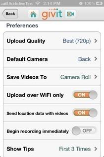 Givit iOS Settings