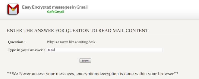 SafeGmail secret question