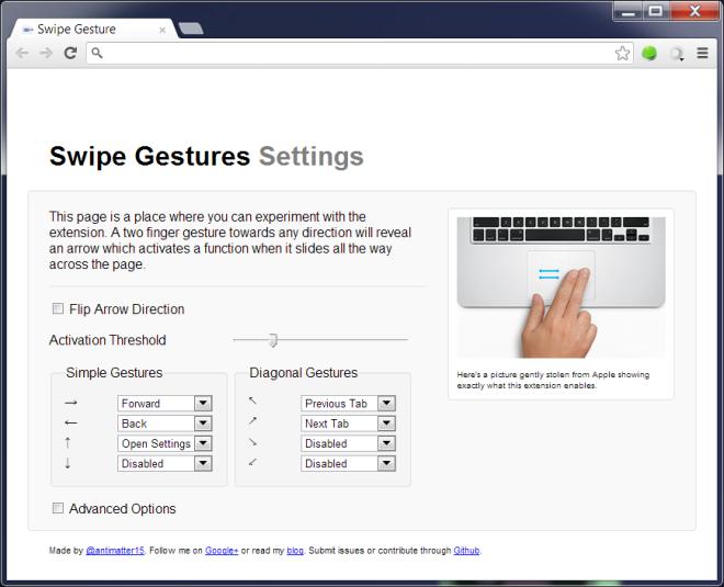 Swipe Gesture Option