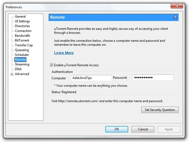 µTorrent Remote Desktop