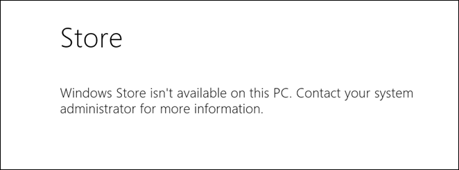 Windows Store Disabled