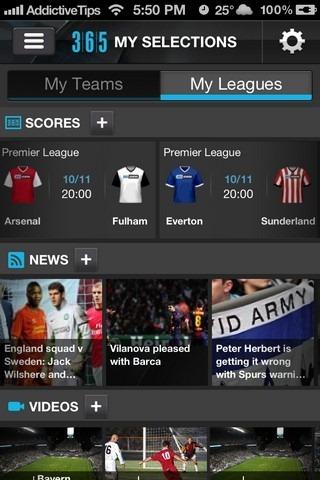 365Scores iOS Leagues