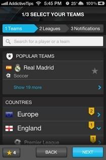 365Scores iOS Select Team