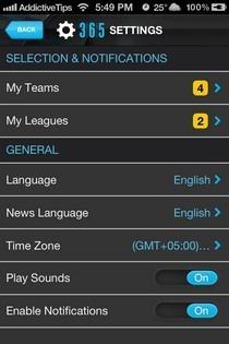 365Scores iOS Settings