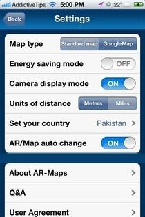 AR-MAPS iOS Settings