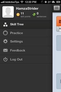 Duolingo iOS Menu