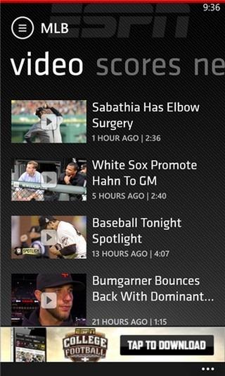 ESPN ScoreCenter WP8 Videos