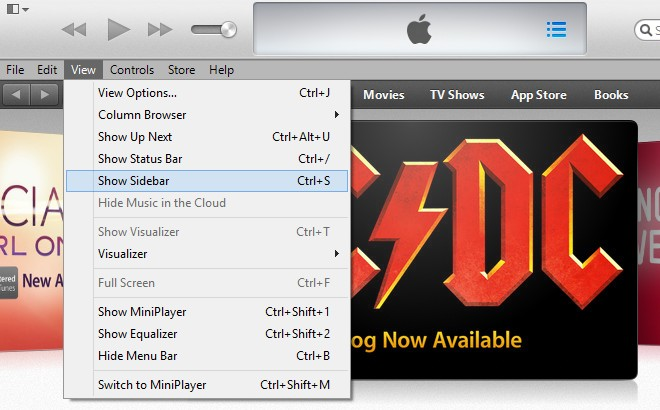 Enable Sidebar from Menubar in New iTunes 11