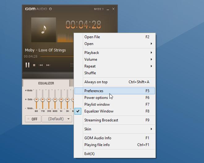GOM Audio_Context Menu
