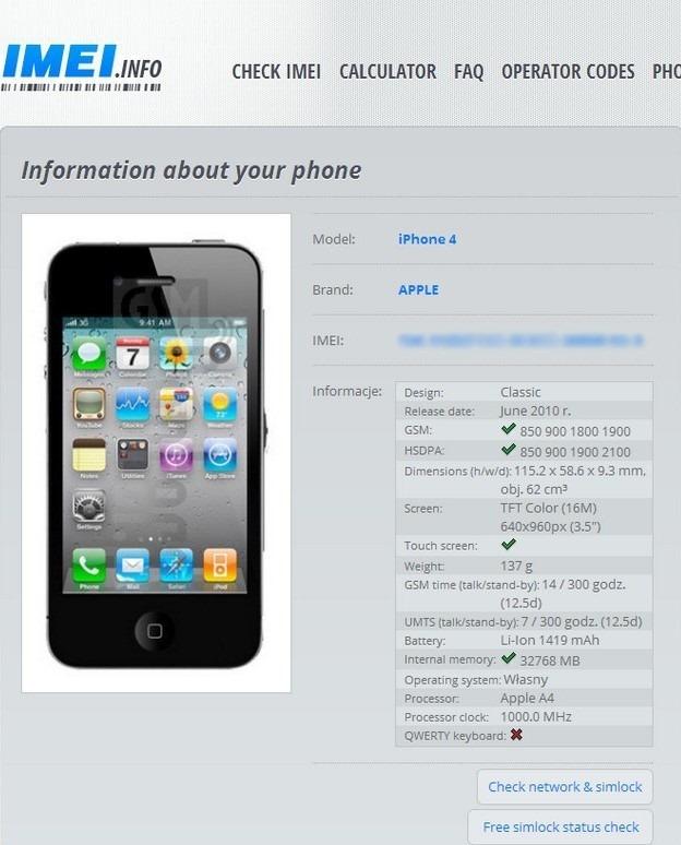 IMEI Info iOS Phone