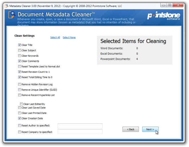 Metadata Cleaner Clean
