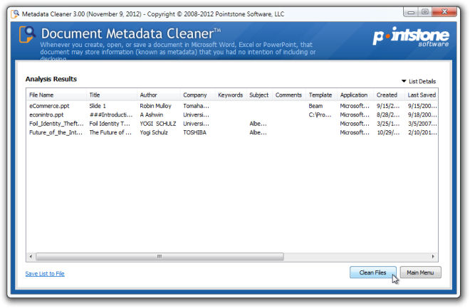 Metadata Cleaner Results