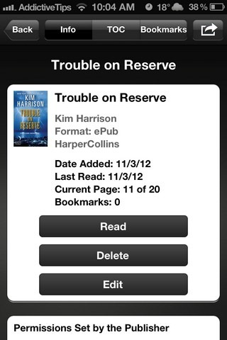 Reader Sony iOS eBook Info