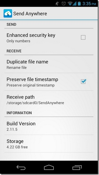 Send-Anywhere-Android-Settings
