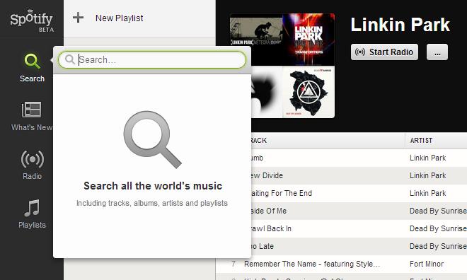 Spotify Search List
