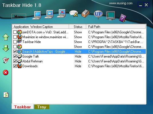 Taskbar Hide Hidden