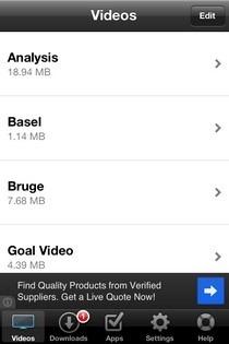 Universal Video Downloader iOS List