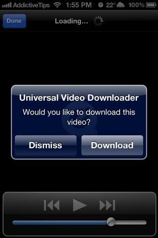 Universal Video Downloader iOS Notification