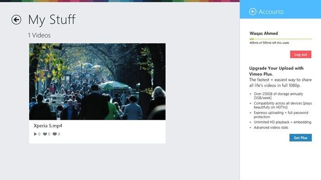 Vimeo Windows 8 MyStuff