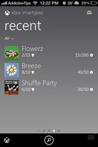 Xbox SmartGlass iOS Recent