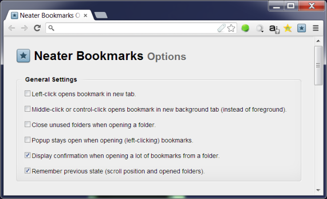Neater Bookmarks Options