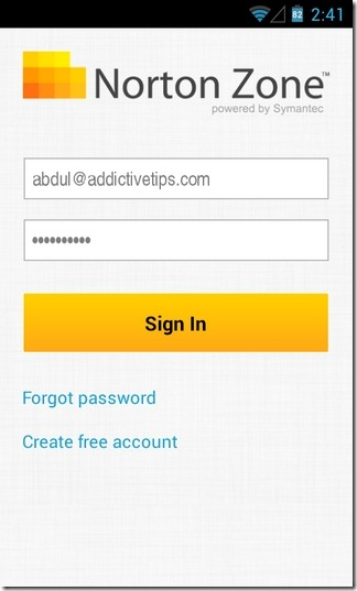 Norton-Zone-Cloud-Sharing-Android-Login
