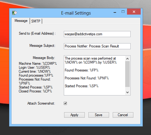 Process Notifier_Email Settings