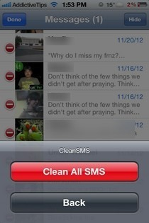 SMSOptions Pro iOS Clear All