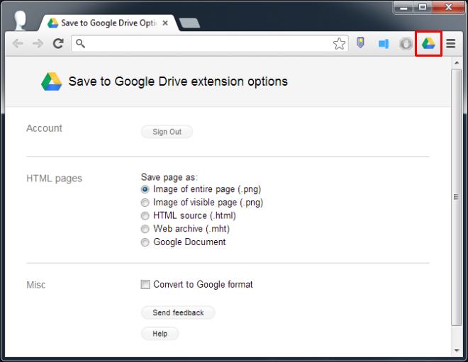 Save to Google Drive Options