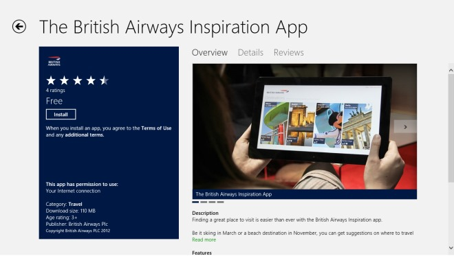 The British Airways Inspiration App_Windows Store