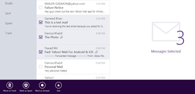 Yahoo! Mail App bar