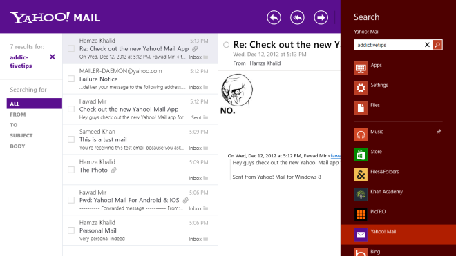 Yahoo! Mail Search