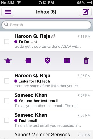 Yahoo! Mail iOS Inbox
