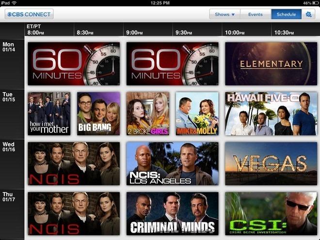 CBS Connect iPad Schedule