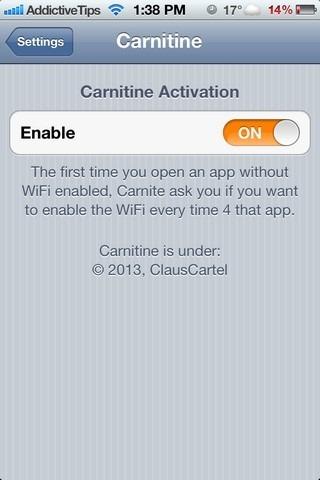 Carnitine iOS Settings