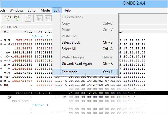 DMDE_Edit Mode
