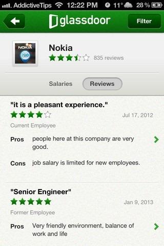 Glassdoor iOS Reviews