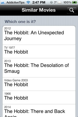 Similar Movies iOS Search