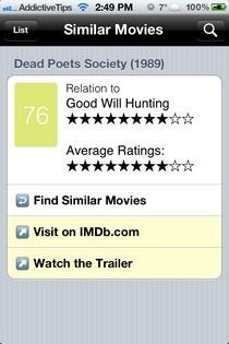 Similar Movies iOS Suggestion