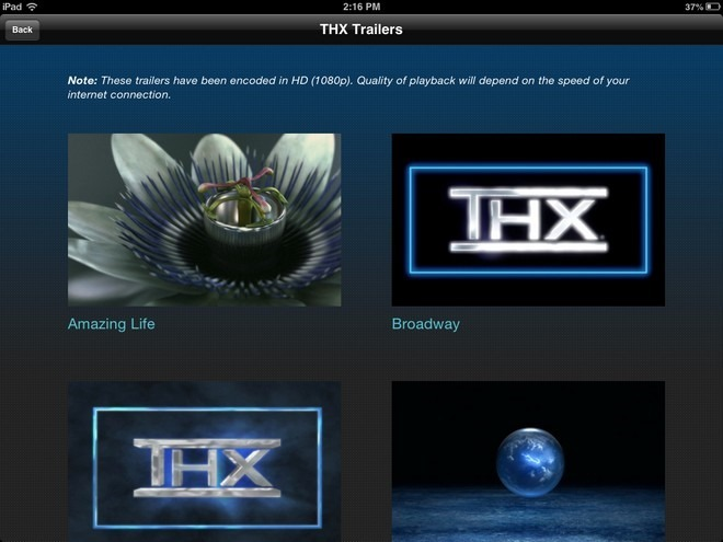 THX tune-up iOS Trailers