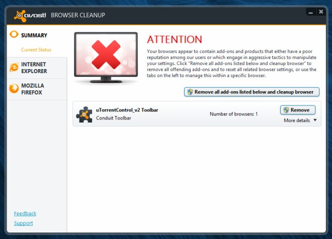 Avast Browser Cleanup_Scan finished